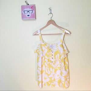 Loft yellow floral ruffle tiered tank top